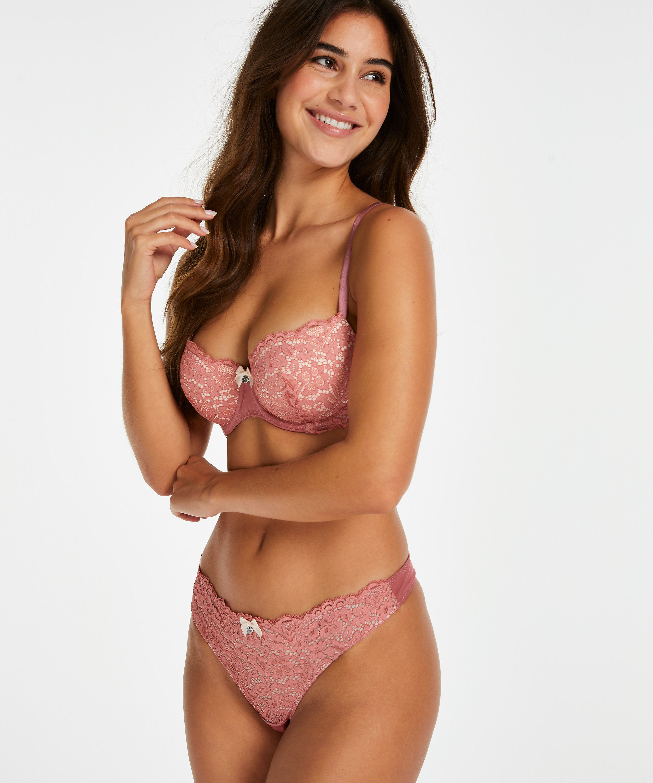 Rose Padded Underwired Bra, Pink, main