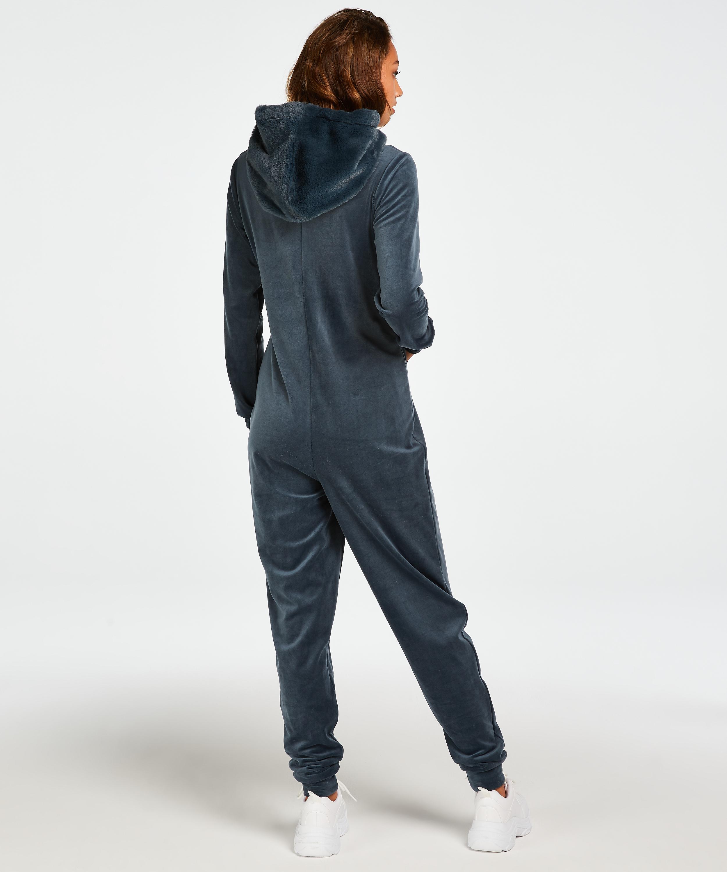 Velvet onesie, Blue, main