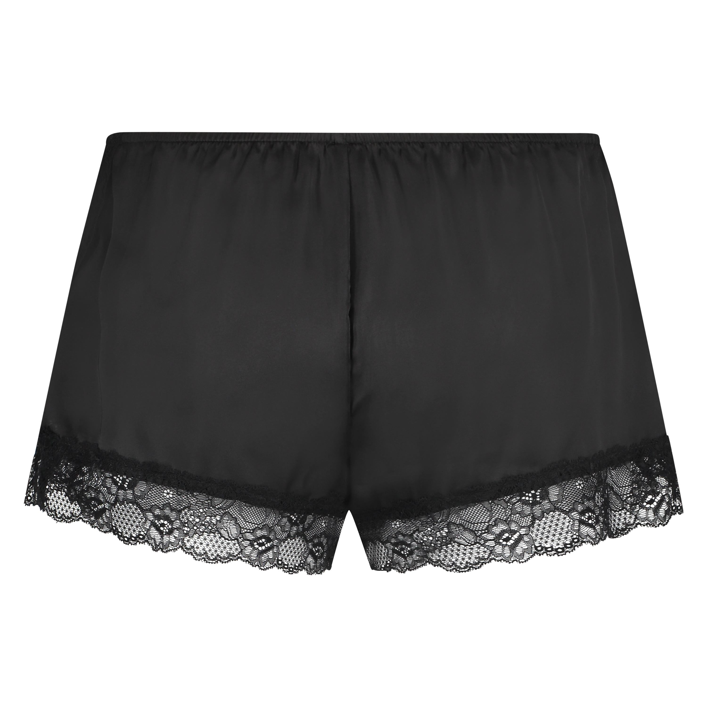 Satin pyjama shorts, Black, main