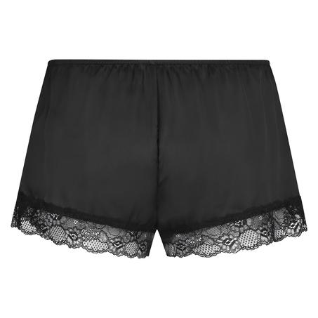 Satin pyjama shorts, Black