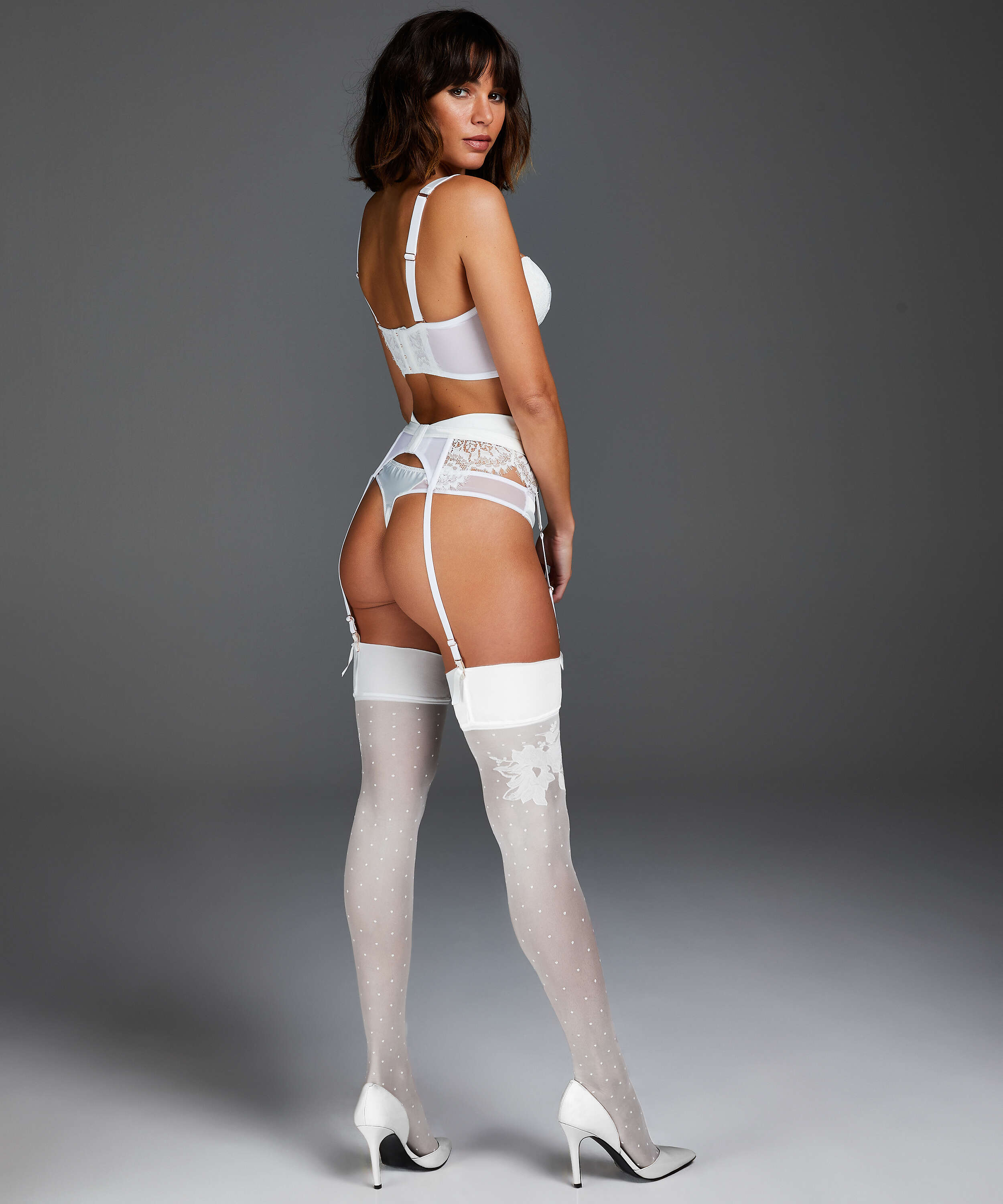 Noir Stockings 15 Denier Amelia Anti Ladder, White, main