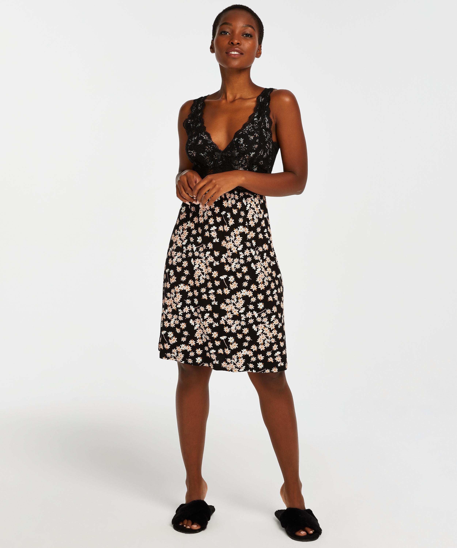 Daisy Modal Lace Slip Dress, Black, main