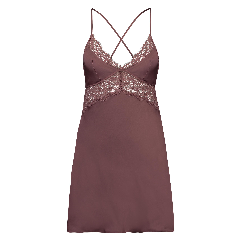 Satin Honey Slip Dress, Pink, main