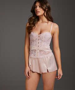 Amelia Tap Satin Shorts, Pink