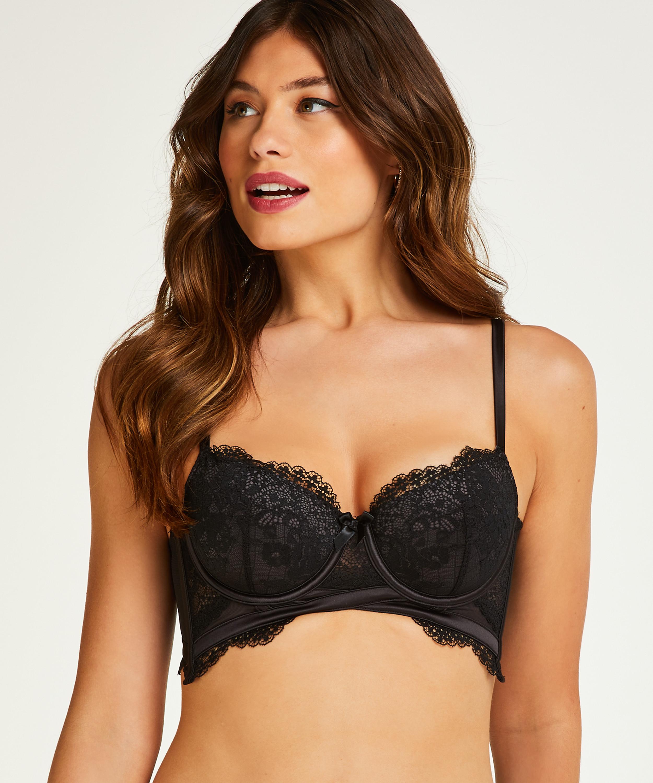Raine padded longline underwired bra, Black, main