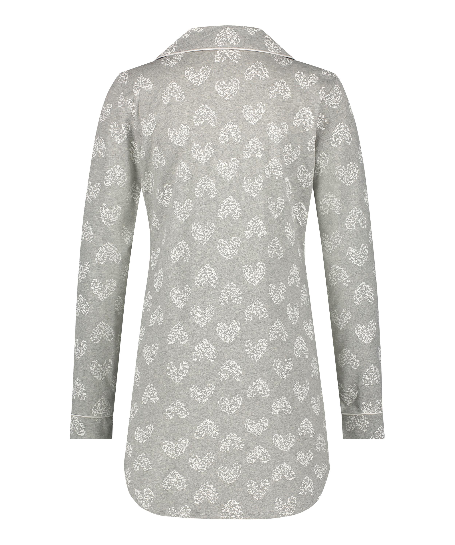 Heart Pyjama Top, Grey, main