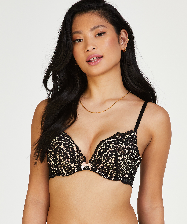 Rose padded underwired maximizer bra, Black, main