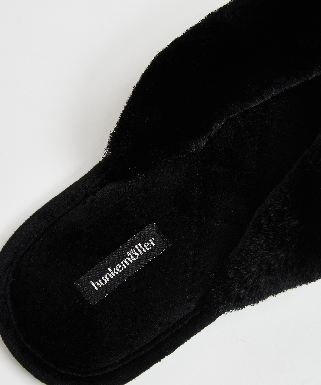 Fur Velours slippers, Black, main