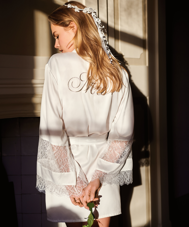 Kimono satin Bridal, White, main