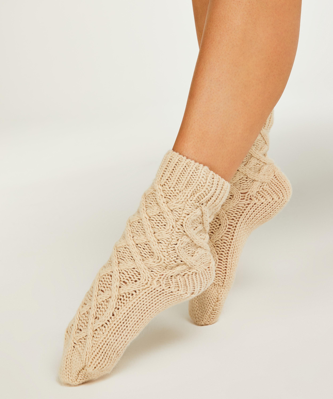 Knit Socks, Beige, main