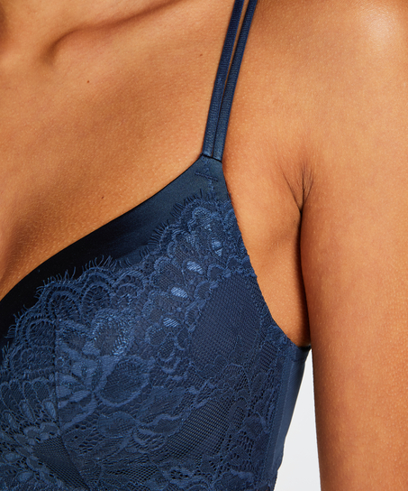 Yvonne padded non-underwired bra, Blue