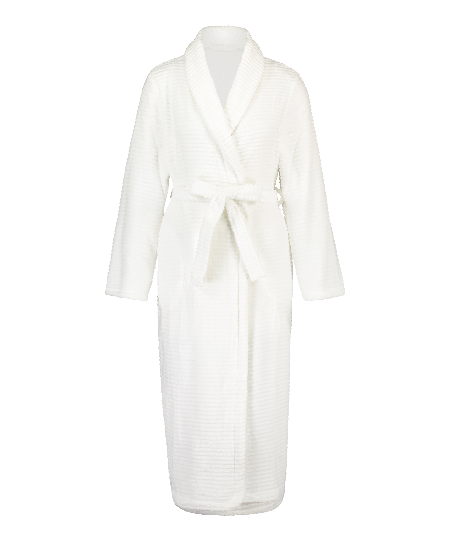 Long Fleece Ribbed Bathrobe, White, main