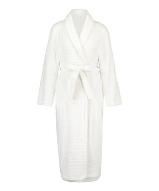 Long Fleece Ribbed Bathrobe, White