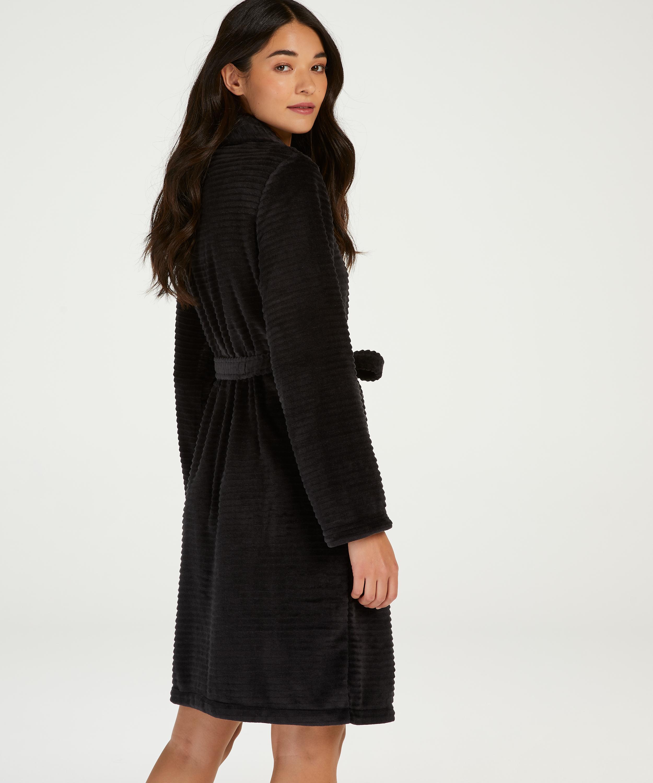 Short Fleece Ribbed Bathrobe, Black, main