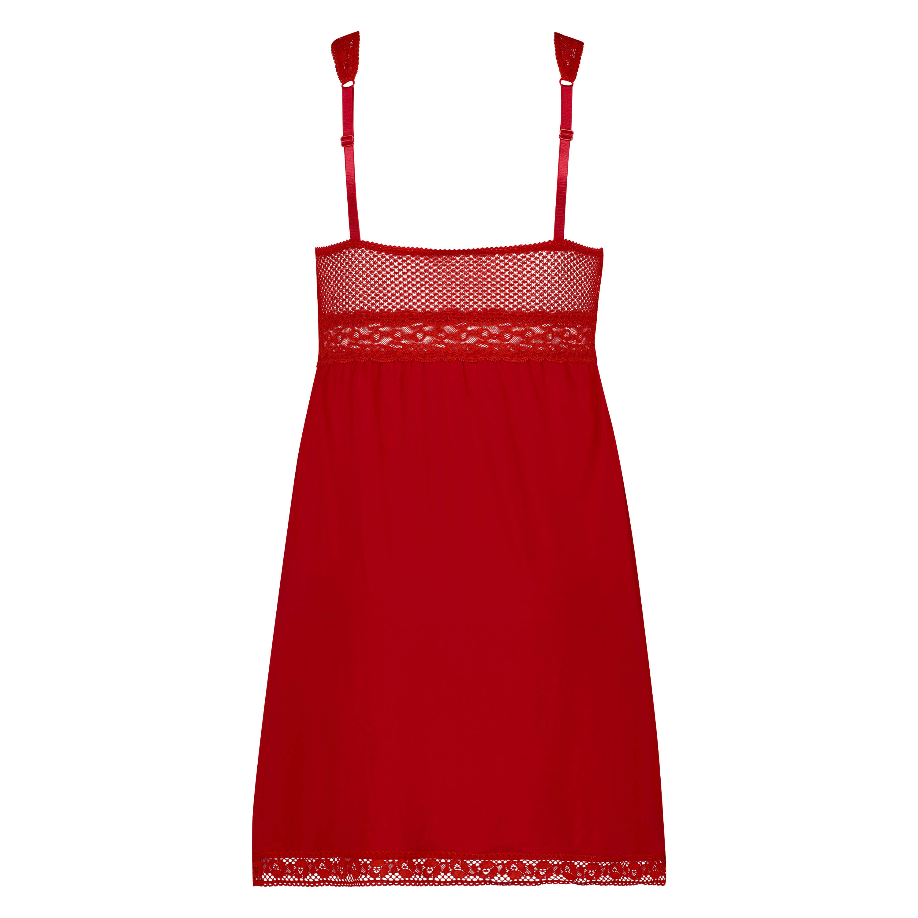 Graphic Lace slipdress, Red, main