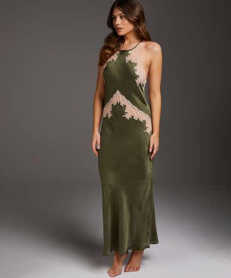 Long Satin Slip Dress, Green