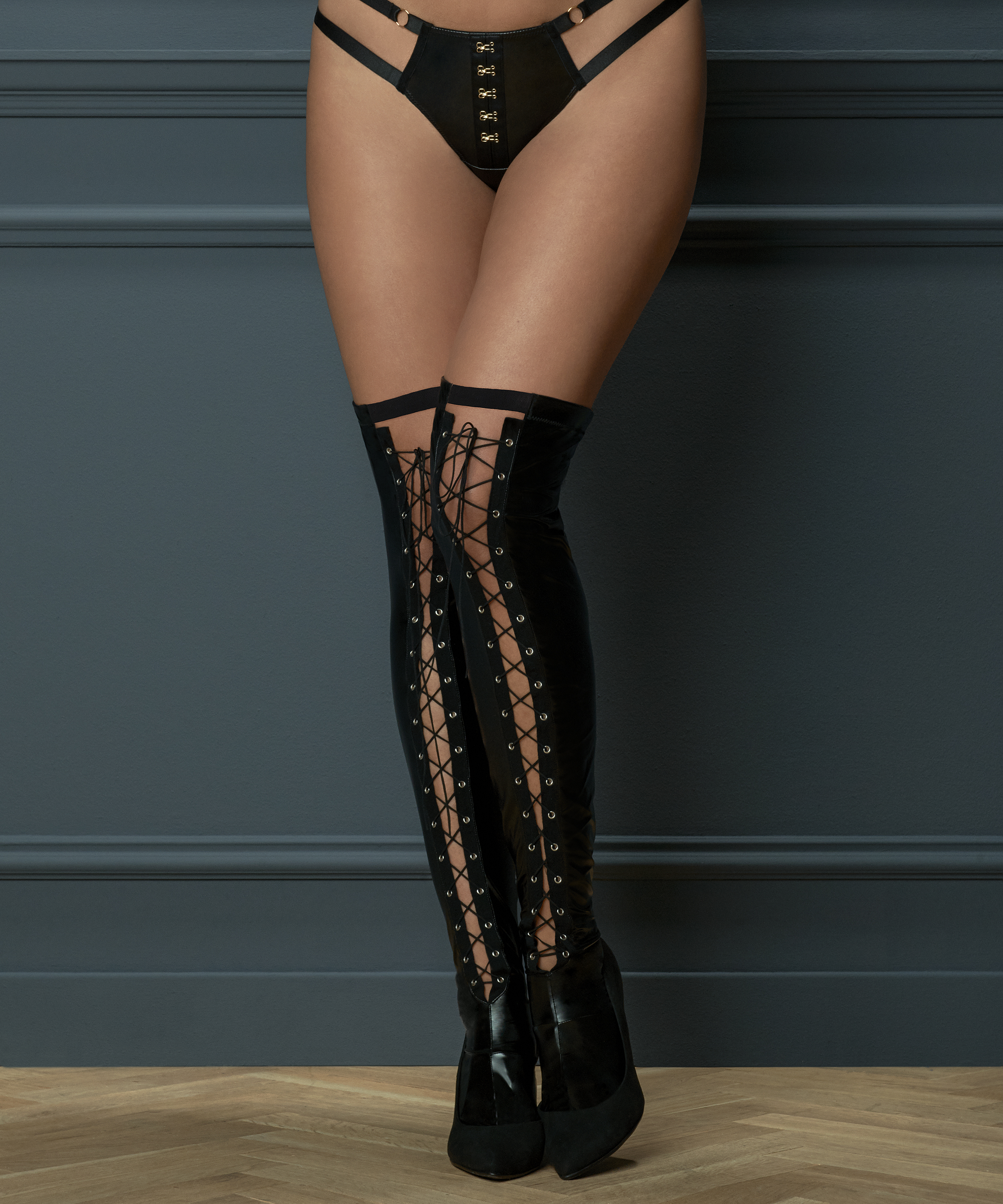 Private Lace-Up Hold-Ups, Black, main