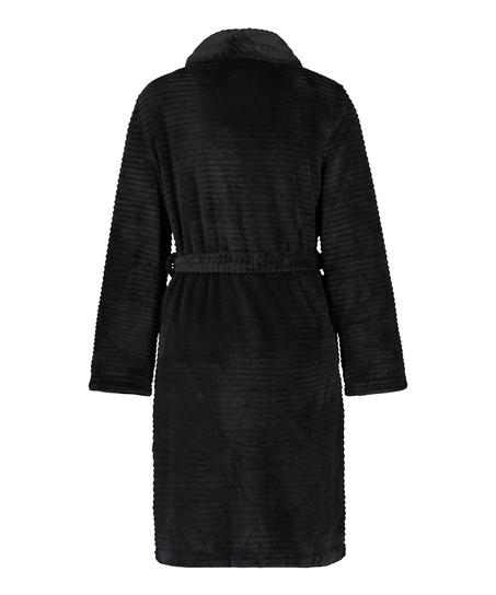 Short Fleece Ribbed Bathrobe, Black