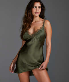 Satin Lily slip dress, Green